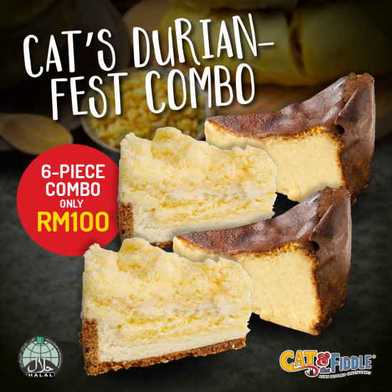 Durian Cheesecake | Durian Cheesecake Slices | Cat & the Fiddle Malaysia-Birthday-Cheesecake-Delivery